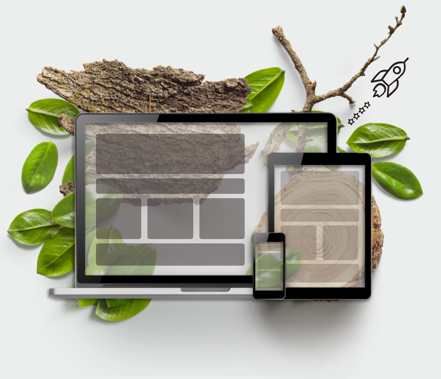 Technology screens and greenery